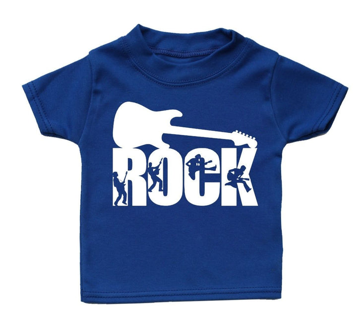 Rock T Shirt Funny Baby Cute Boy Girl Present Kid Funky Gift Babies Music Guitar, Main Colour Royal Blue