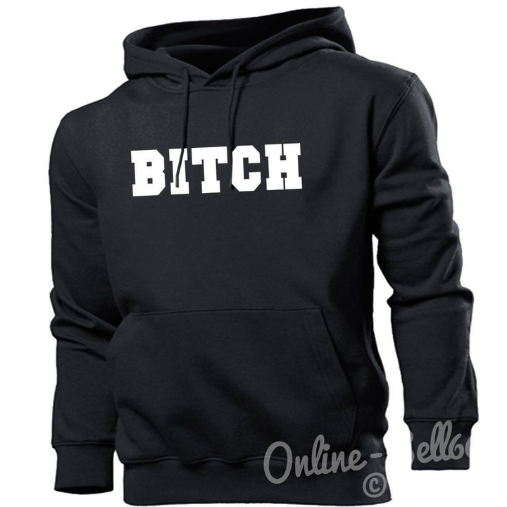 Bitch Funny Womens Hoodie Mens Hipster Naughty Hoody Offensive Swag Dope Boys, Main Colour Black