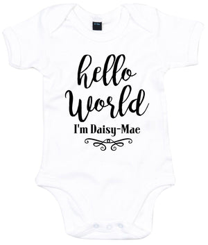 Hello World I'm ANY NAME Custom Babygrow Vest Newborn Name Announcement Baby AS3
