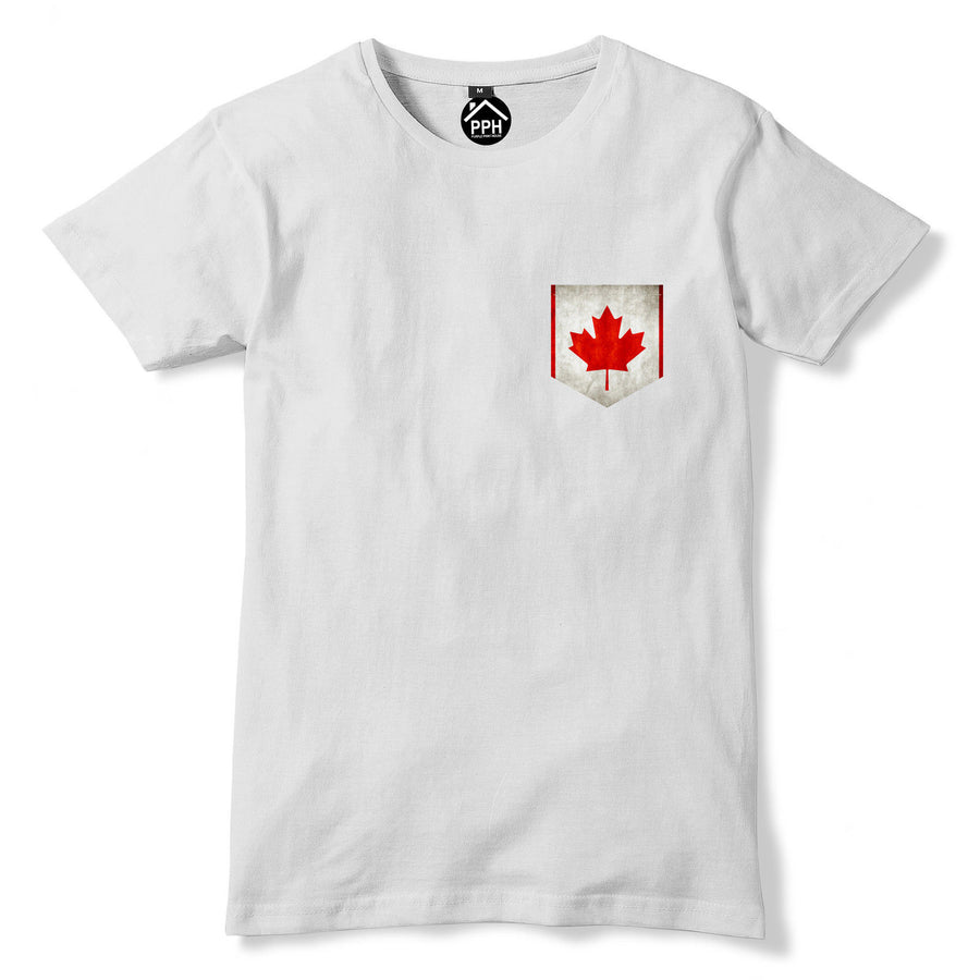 Vintage Print Pocket CANADA Flag T Shirt Maple Leaf Mens Womens Tshirt New 267