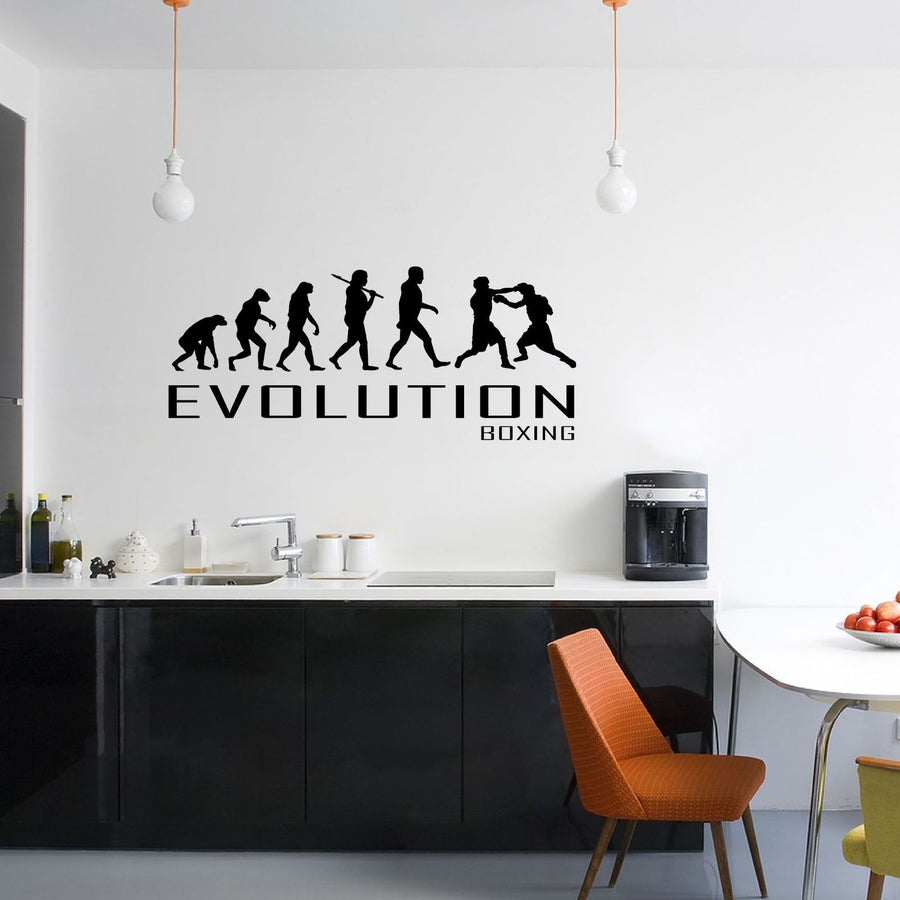 Evolution Of Boxing Wall Sticker Vinyl Decal Decors Art Box Boxer Fight Gloves