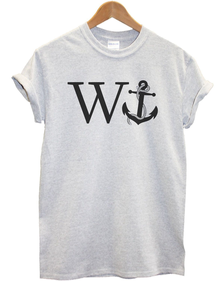 W Anchor T Shirt Funny Joke Rude Ships Navy Marines Top Present Gift Sailor