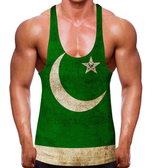 Pakistan Flag Stringer Vest bodybuilding workout training wear men uk Pakistani