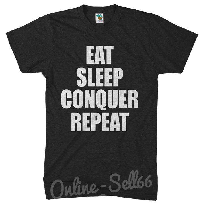 Eat Sleep Conquer Repeat Mens Gym Tshirt Muscle Top Train t Shirt Bodybuilder, Main Colour Black