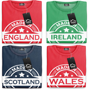 Made In England Wales Scotland Ireland T Shirt Flag Country Tshirt Rugby Mens