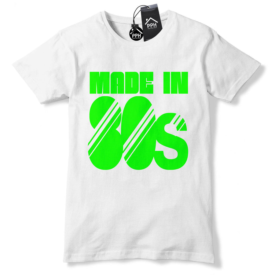 Made In 80s T Shirt NEON PINK Retro Party Disco Fancy Dress Tshirt Tee Top 526