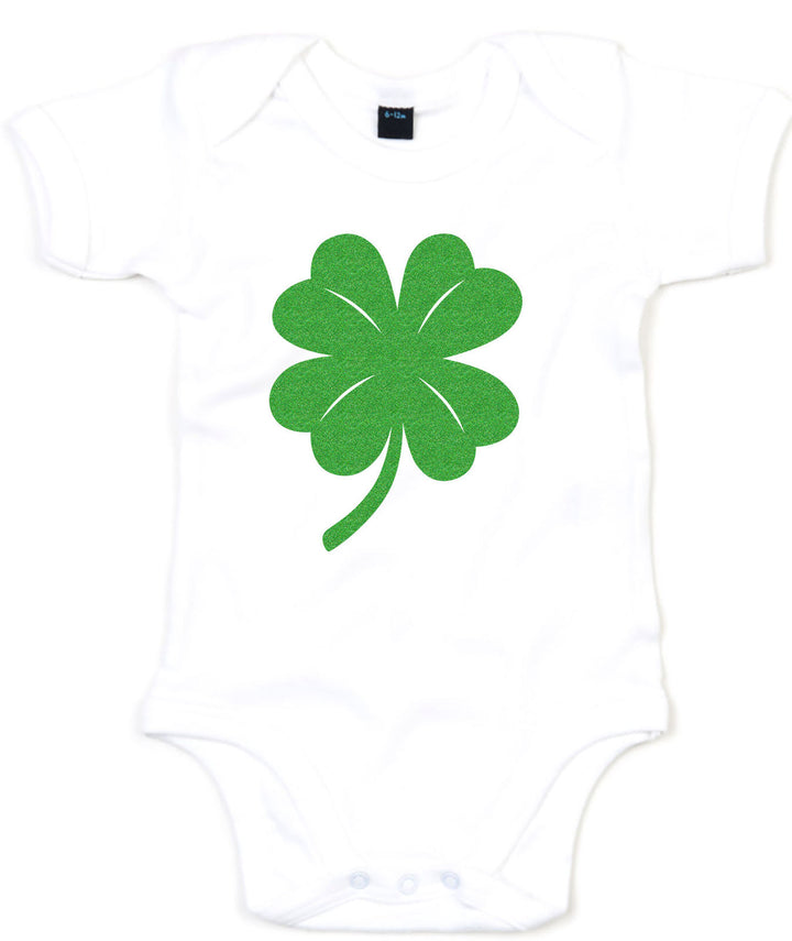 GREEN GLITTER Shamrock Babygrow Baby Grow St Patricks Day Boy Girl Clothing L193