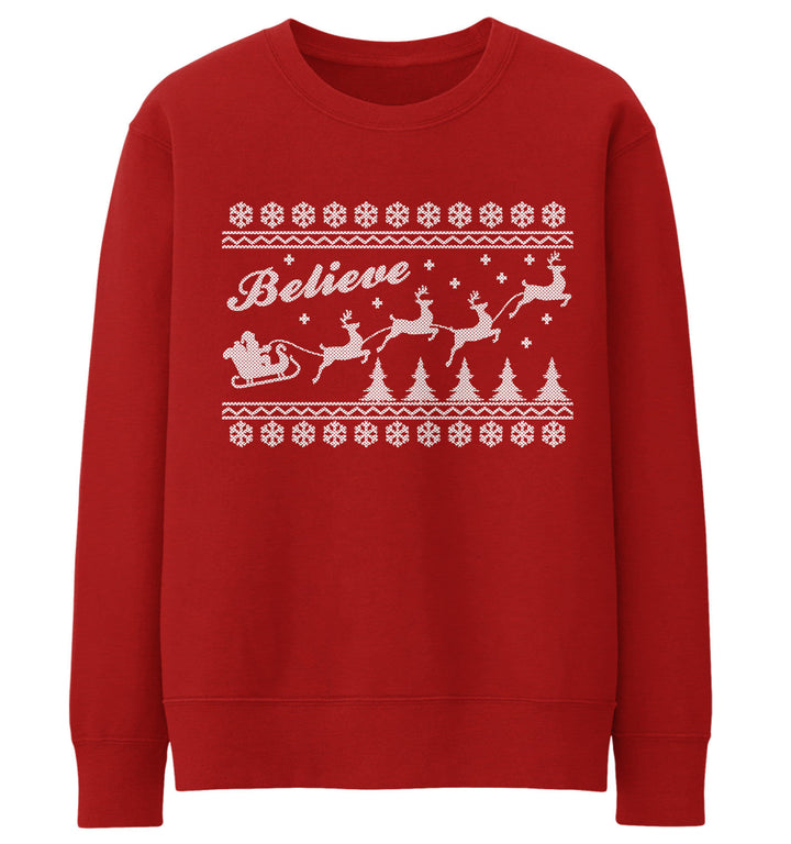 Believe Fair Isle Christmas Jumper Sweater Ugly Santa Sleigh Kids Men Women Xmas