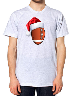 American Football Christmas Santa Hat T Shirt Sportsman Festive Party Novelty , Main Colour Ash