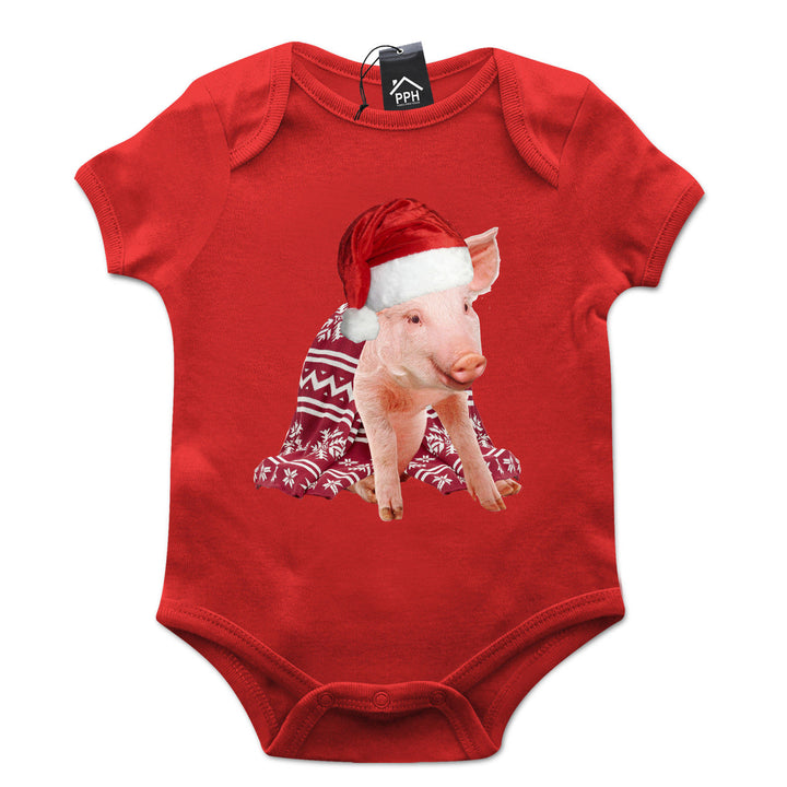 Pigs in Blanket Santa Claus Hat Funny Christmas Babygrow Suit Baby grow CH47
