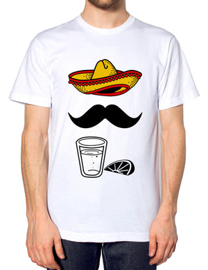 Mexican Sombrero Moustache Tequila Tshirt Funny Hipster T Shirt Mens Womens