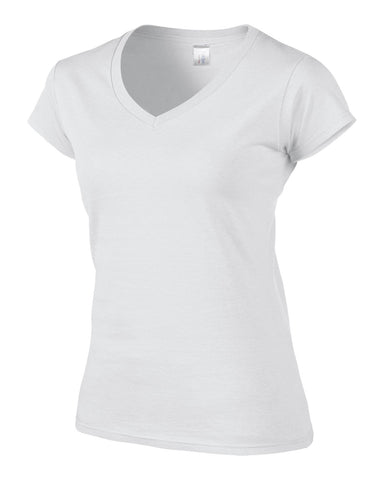 Image of Gildan Ladies V Neck T Shirt Womens Top Tee Vest Wholesale All Sizes + Colours