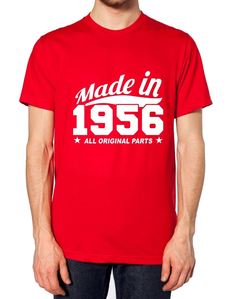 MADE IN 1956 ALL ORIGINAL PARTS T SHIRT TOP TEE BIRTHDAY PARTY SURPRISE , Main Colour Black