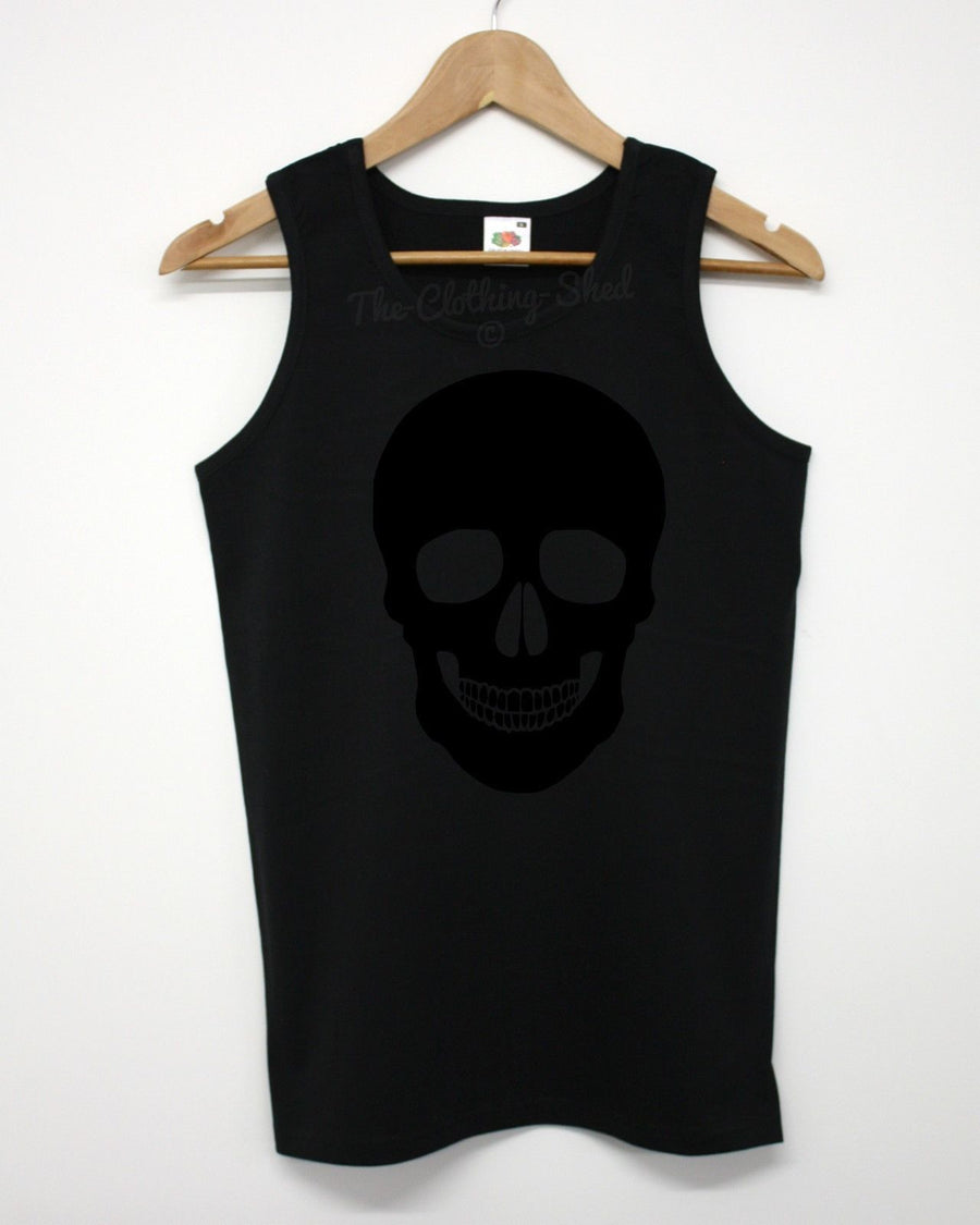 Black Skull Vest Emo Indie On Black Hipster Triangle Swag Summer Beach Man Top