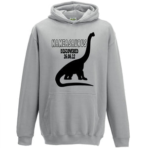 Personalised Dinosaur Hoodie Kids Childrens Fun Birthday Gift Name Boys Girl L72