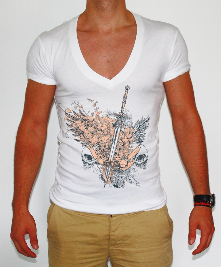 Distinkt Youth Hunting Souls Deep V Neck T Shirt Fashion Muscle Graphic Mens 143