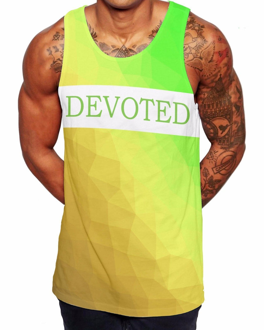 Devoted Yellow Geometric Vest Beach Top Vest Ibiza Summer Holiday Singlet V7