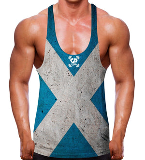 SCOTTISH FLAG BODYBUILDING STRINGER VEST PROUD GYM WEAR CLOTHING MMA WORKOUT MEN