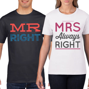 8bf7ab9e Mr Right Mrs Always Couples T-Shirt Funny T Shirt Wedding Honeymoon Shirts  849