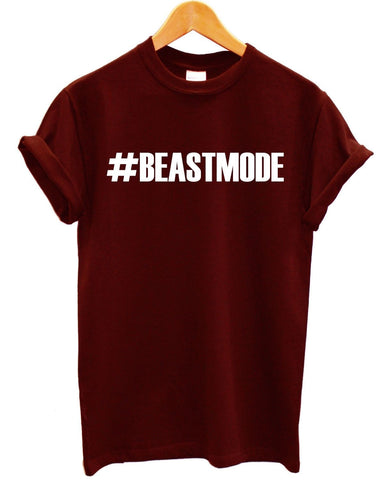 Image of #BEASTMODE T Shirt Gym Train Man Body Builder Woman Sport Exercise Summer Top, Main Colour Black