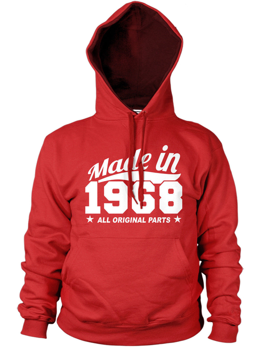 MADE IN 1968 ALL ORIGINAL PARTS HOODIE MENS WOMENS COOL PRESENT FUNNY BIRTHDAY