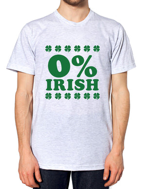 0% Irish T Shirt St Patricks Day Funny Outfit Top Men Women Percent Irish Paddy, Main Colour Ash Grey