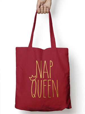 Nap Queen Shopping Tote Bag Gold Sleepy Lazy College Student Life Carrier M55