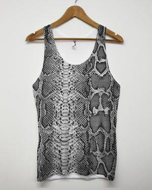 Grey Snake All Over Vest Graphic Pattern Top Tank Summer Indie Hipster Grunge