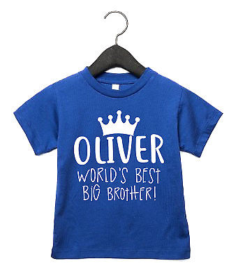 World's Best Big Brother CUSTOM NAME Toddler T Shirt Birthday New Baby Bro AS8