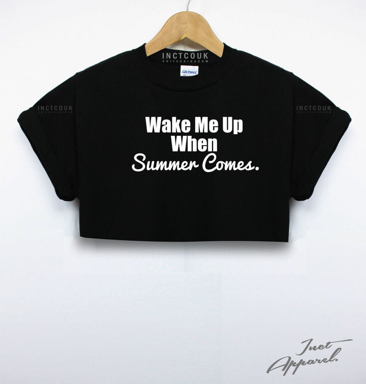 Wake Me Up When Summer Comes Crop Top Beach Holiday Sun Tan Girls Women Tumblr