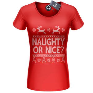 Naughty or Nice Christmas T Shirt Rude Sexy Santa Outfit Fancy dress Tshirt CH16