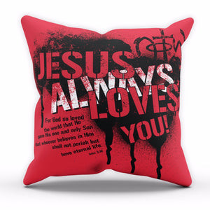 Jesus Loves You Cushion Religion Bible Cross Home Decor Cover Pillow Linen C18