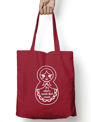It's What's Inside That Counts Tote Shopping Bag Russian Doll Gift Present M05