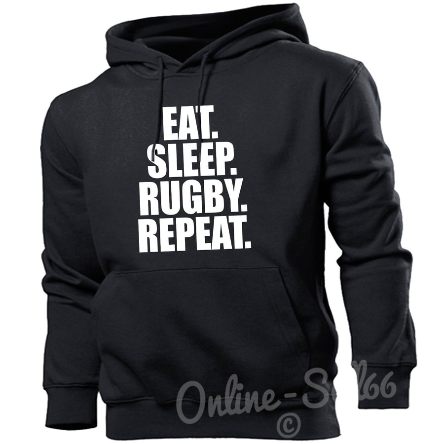 Eat Sleep Rugby Repeat Mens Womens Hoodie  Hard Hoody Gift Train Gym New, Main Colour Black