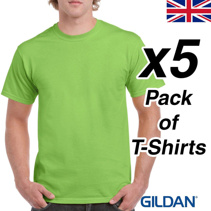Mens Lime Green T Shirt 5 Pack Gildan Heavy Cotton Tee Top New Plain Cheap Work