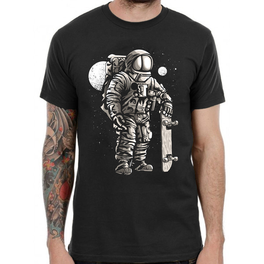 Astronaut Skater T Shirt Skateboarding Apparel Clothing Urban Streetwear Retro