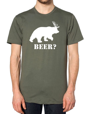 Beer? T Shirt Bear Deer Tee Funny Men Antlers Women St Patricks Day Slogan, Main Colour Military Green