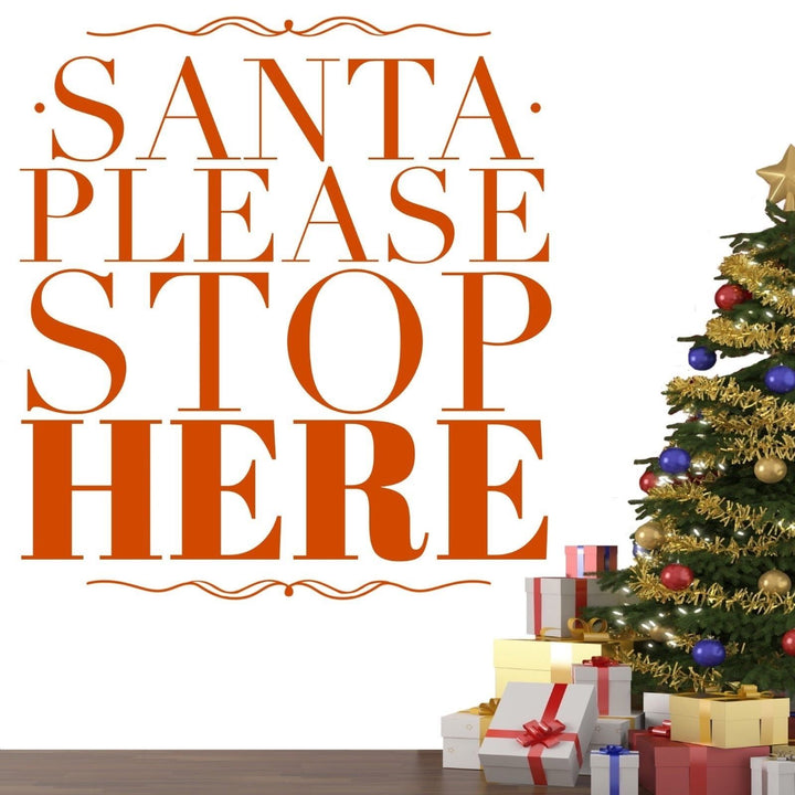 Santa Please Stop Here Christmas Wall Sticker Vinyl Decorations Window Xmas W6
