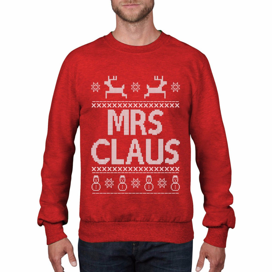 Mrs CLAUS Womens Christmas Jumper Mistletoe Reindeer Home Alone Sweater Top CH10