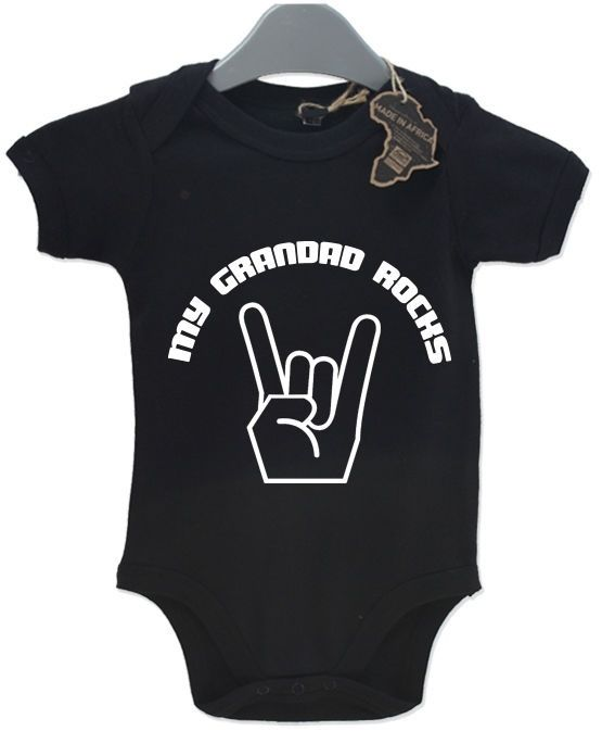 My Grandad Rocks Baby Grow BabyGrow Funny Cool Unisex Birthday Present Suit Gift