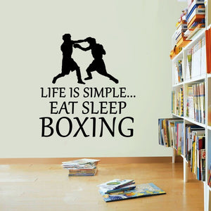 Life Is Simple Boxing Vinyl Sticker Eat Sleep Decal Box Boxer Wall Art Sport