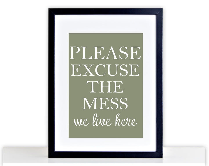 Excuse The Mess Poster Print photo Framed Mounted Funny KitchenPicture Gift 257