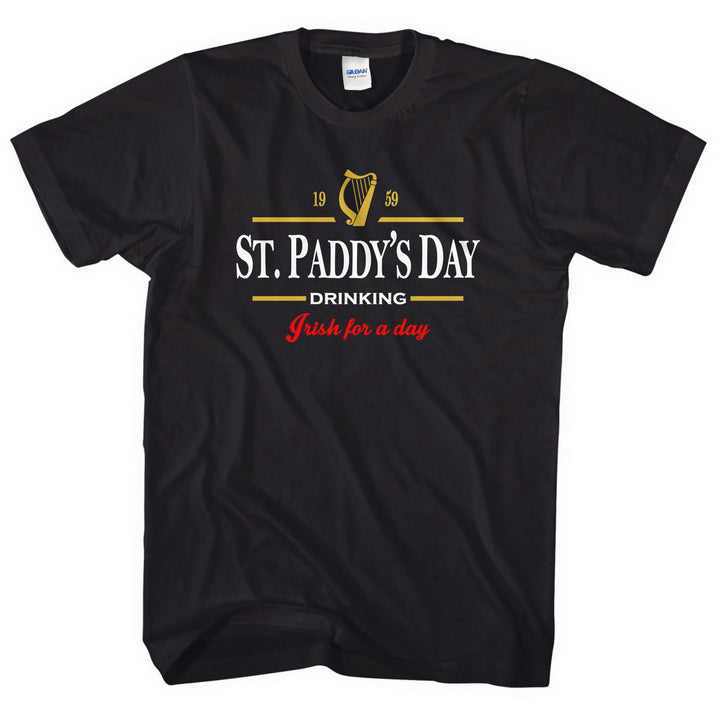 St Paddy's Day T-Shirt St Patricks Tshirt Drinking Guinness Black Men Women L237