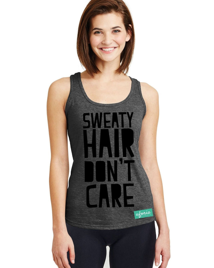 Sweaty Hair Don't Care CHARCOAL Womens Gym Vest Running Resolution Fitness U55