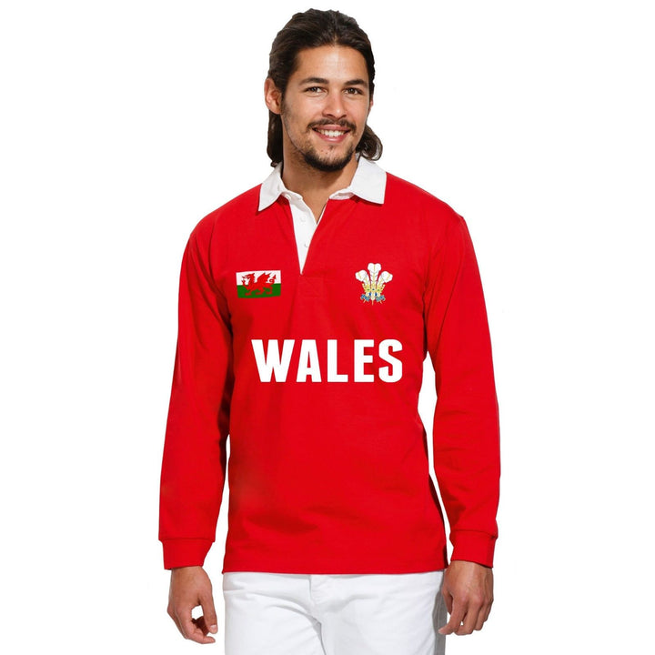 Wales TEXT Rugby Vintage Polo Shirt Cymru World Cup Nations Retro Jersey Kit
