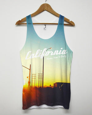 CALIFORNIA KNOWS HOW TO PARTY ALL OVER PRINTED VEST SINGLET TANK TOP SUMMER NEW