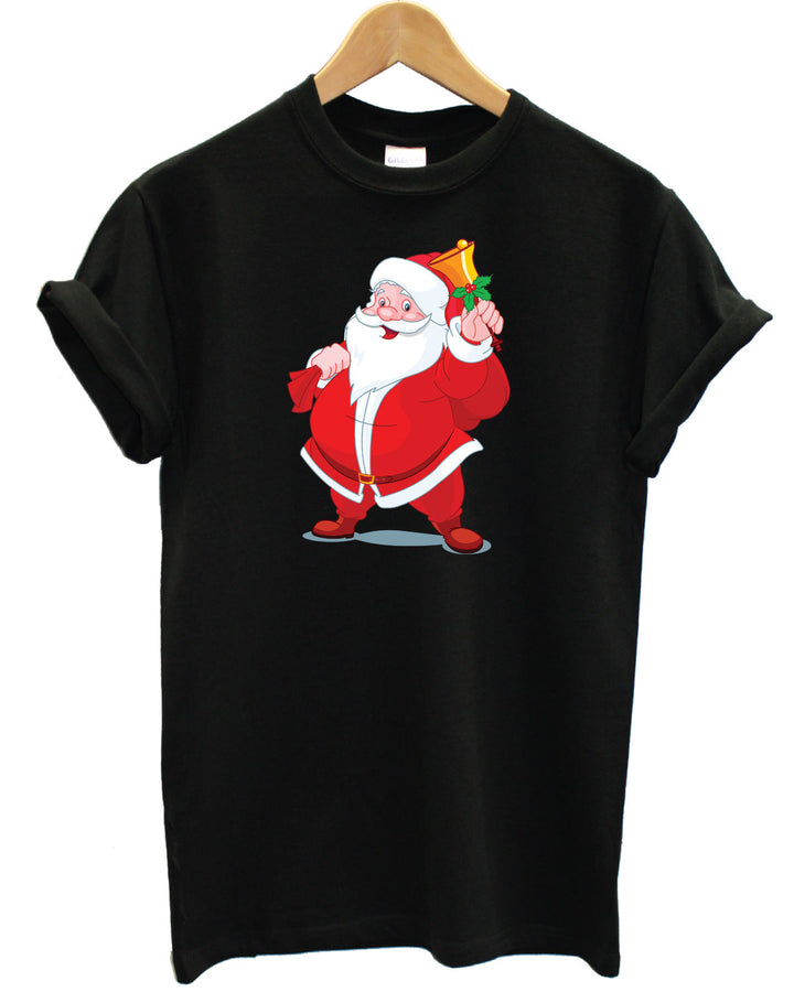 Santa T Shirt Father Christmas Claus Presents Gift Festive Top Here Comes Snow , Main Colour Black