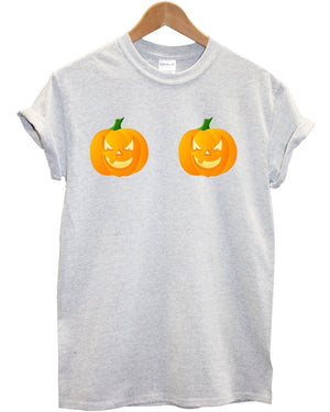 Pumpkin Boobs T Shirt Funny Scary Halloween Tumblr Hipster Top Dress Up Fancy