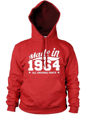 MADE IN 1964 ALL ORIGINAL PARTS HOODIE MENS WOMENS COOL PRESENT FAMILY BIRTHDAY