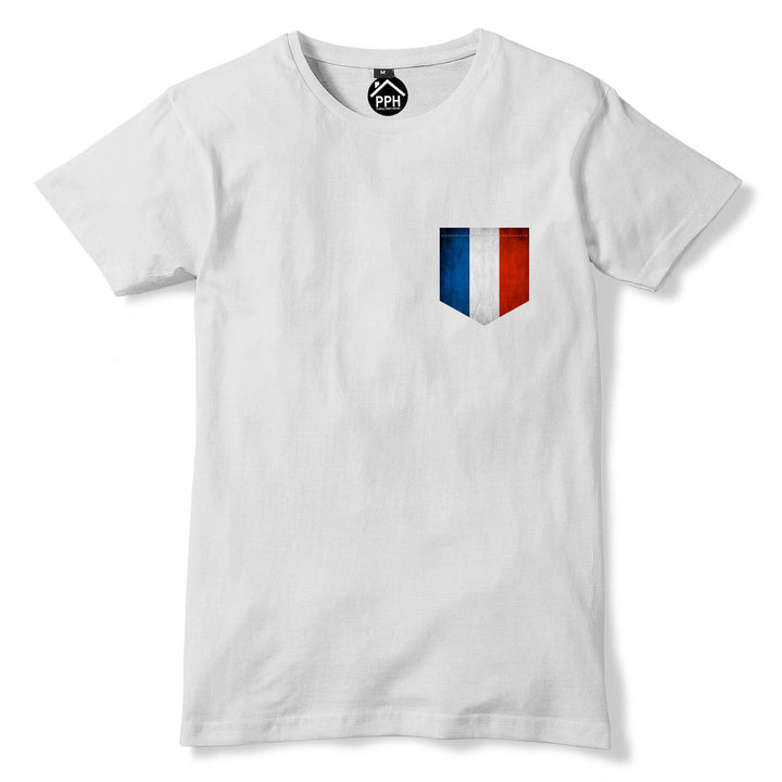 Vintage Print Pocket France Flag T Shirt Football Franciase Sport Men Tshirt 279